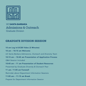Graduate Division Session beginning at 10 AM