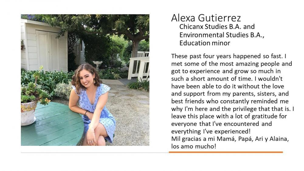 Alexa Gutierrez, Chicanx Studies B. A. and Environmental Studies B. A., Education Minor