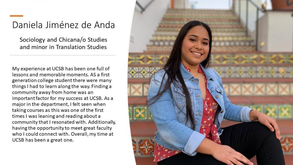 Daniela Jiménez de Anda, Sociology and Chicana/o Studies and minor in Translation Studies