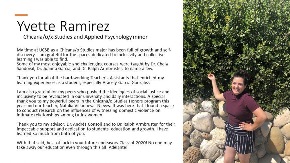 Yvette Ramirez, Chicana/o/x Studies Major, Applied Psychology minor