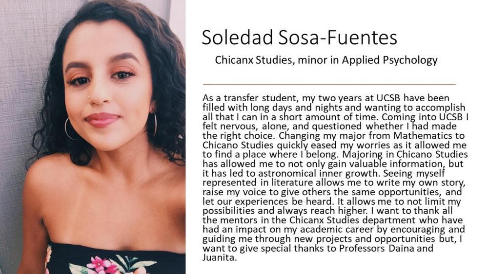 Soledad Sosa-Fuentes, Chicanx Studies Major, Applied Psychology Minor