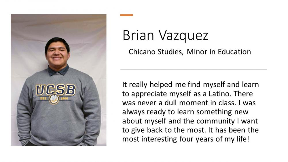 Brian Vazquez, Chicano Studies Major, Education Minor