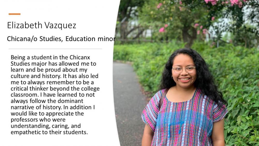 Elizabeth Vazquez; Chicana/o Studies Major, Educaiton Minor