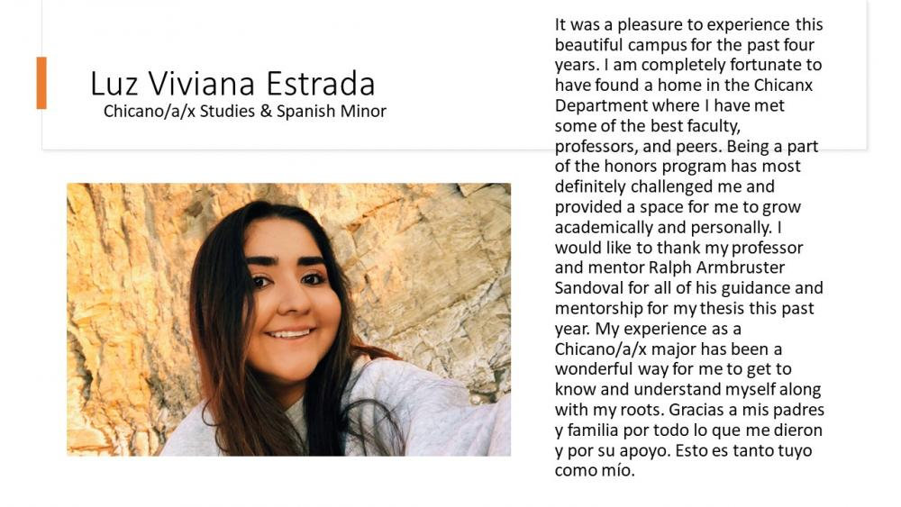 Luz Viviana Estrada, Chicano/a/x Studies & Spanish Minor